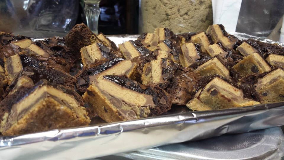 Triple Decker Peanut Butter Brownies Recipe — Dishmaps